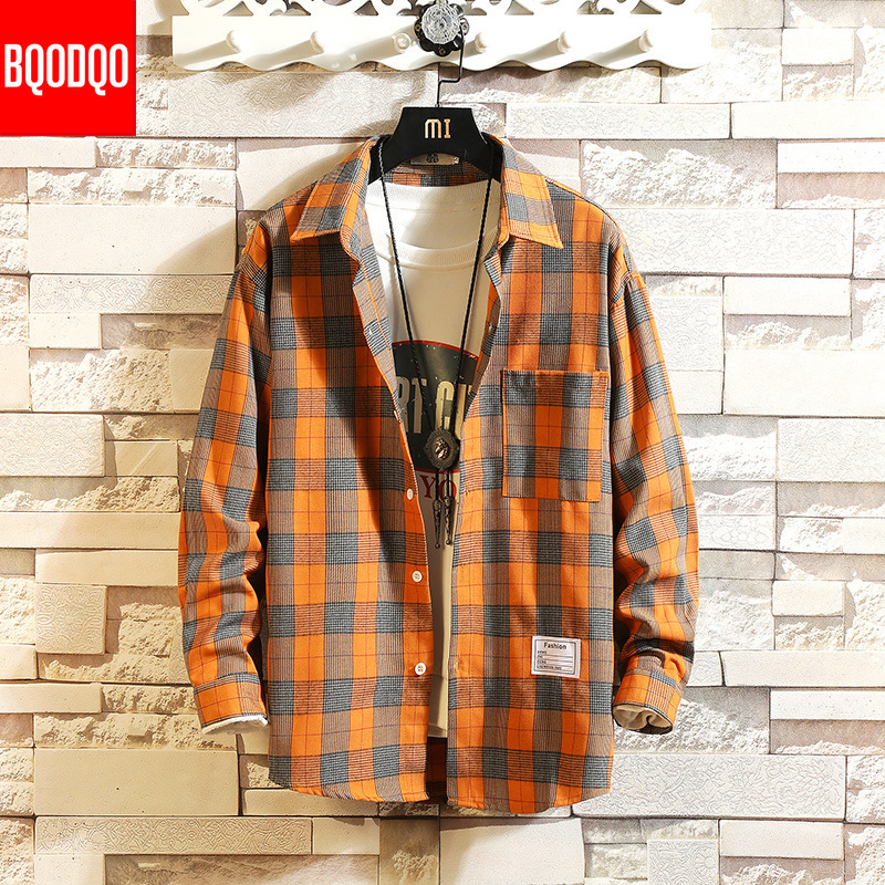 Winter Preppy Style Brand Cotton Plaid Casual Shirt Male Fashion Autumn Long Sleeve Tops Streetwear Korean Japanese Shirts Men