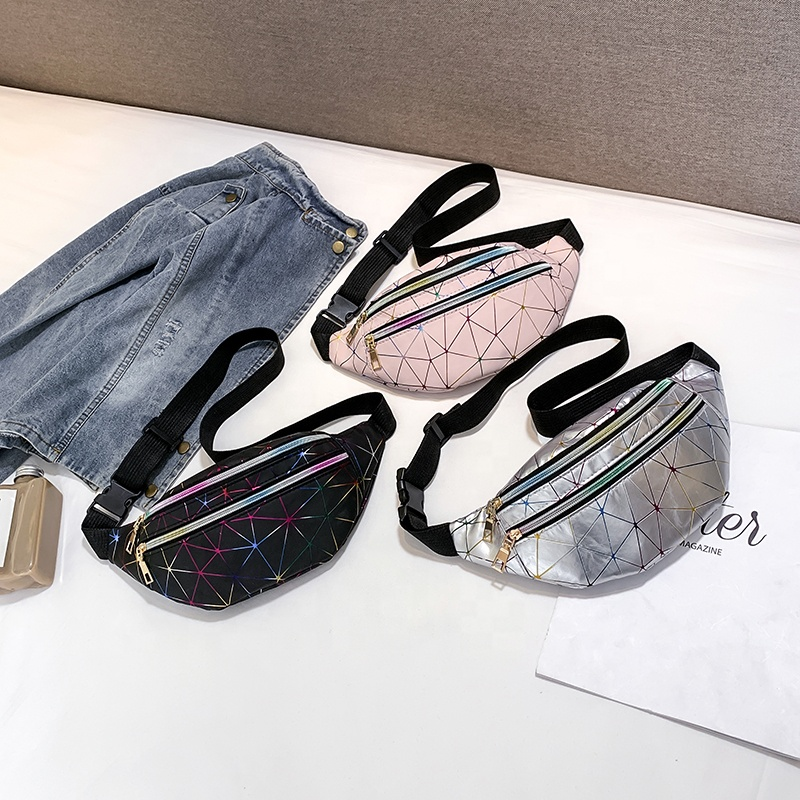 Waist Bag Women Geometric  Packs Female Belt  Laser Chest Phone Pouch Fanny Packs Secret Stash