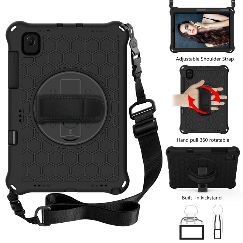 """For Samsung Galaxy Tab S5E 2019 SM-T720 T725 Case S5 E 10.5"""" Pencil Holder Bags Funda Tablet Stand Shell & Neck Strap Kids Coque-0"""