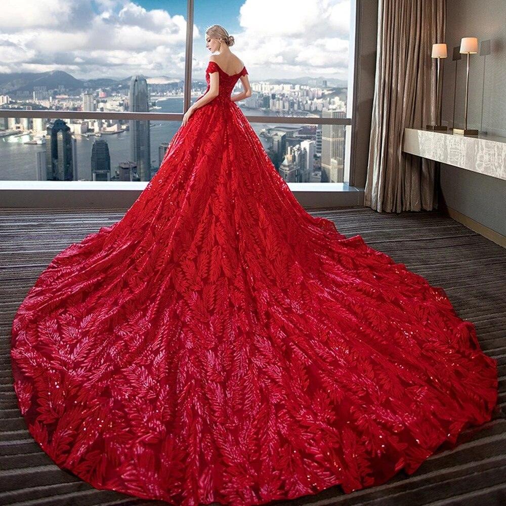 Mewah Merah Off Shoulder Renda Bordir Panjang Ekor Pernikahan Gaun Pengantin Gaun Wedding Dresses Aliexpress