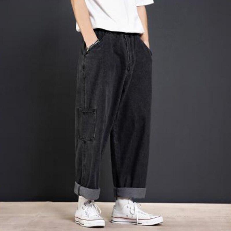 Men Loose Casual Wide Leg Jeans Vintage Fashion Hip Hop Harem Straight Denim Pants Black Blue Cowboy Trousers