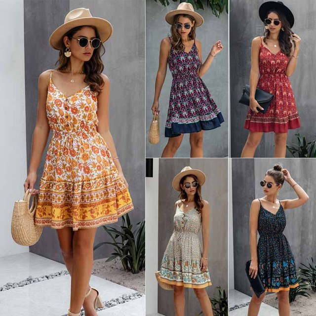 Summer Women Print V-Neck Dress 2