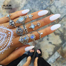 Tocona 11pcs/sets Vintage Silver Color Rings Lotus Flower Clear Crystal Stone Turtle Water Drop Geometric Jewelry for Women Men