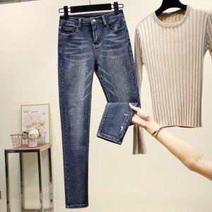Image 1 - Frauen elastische jeans plus größe damen denim hosen casual hosen stretch jeans frau hohe taille denim baumwolle bleistift hosen