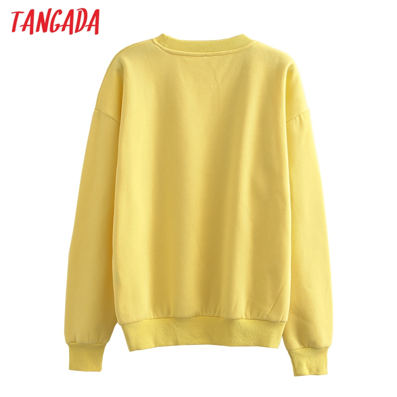 H11d90c44cdc94155a717a9adce5be04aA Tangada 2020 Autumn Winter Women warm yellow fleece 100% cotton suit 2 pieces sets o neck hoodies sweatshirt pants suits 6L24