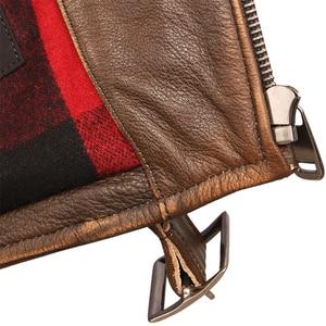 Image 5 - خمر دراجة نارية سترة الرجال سترة جلدية سميكة 100% الطبيعي جلد البقر السائق سترة موتو حقيقية معطف جلد الشتاء M457