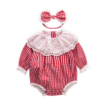Vlinder Baby Clothes Girl Rompers Newborn Striped Cotton Long Sleeves Infant 2PCS Sets 6M-24M