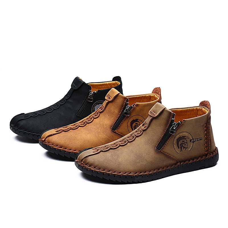 Valstone 2020 ใหม่ผู้ชายรองเท้าหนังลำลองพลัสขนาด 38-48 VINTAGE ชายรองเท้าซิปเปิด MID-Top ฤดูใบไม้ร่วง Golden hombres