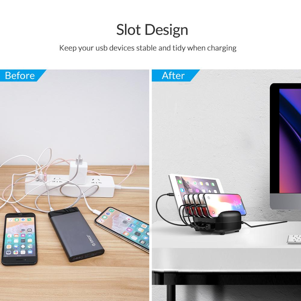 ORICO USB Charger Station Dock with Holder 40W 5V2.4A*5 USB Charging Free USB Cable for iphone ipad PC Kindle Tablet 3