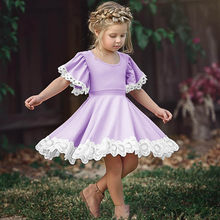 Fall Summer Baby Girls Dress Lace Flying Sleeve Dresses Solid Color Cute Kids Party Dresses For Kid girls Princess Dress Clothes(China)