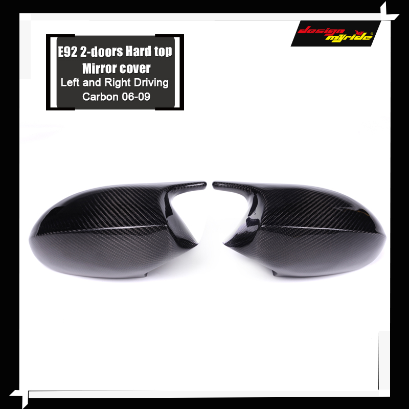 For BMW E92 2 Door Hard Top Mirror Cover Cap Add on Style M3 Look 100 Real Vacuumed Dry Carbon Fiber Replacement Mirror 2006 09 in Mirror Covers from Automobiles Motorcycles
