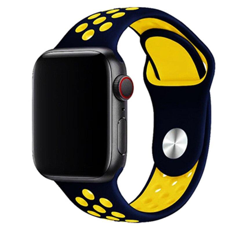 Спортивный ремешок для apple watch band 44 мм/40 мм apple watch 5 4 3 band iwatch band 5 42 мм/38 мм correa браслет ремень аксессуары для часов - Цвет ремешка: deep blue yellow