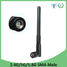 10pcs 2.4GHz 5GHz 5.8Ghz Antenna 5dBi SMA Male Connector Dual Band wifi Antena aerial wireless router 2.4 ghz 5.8