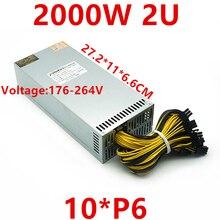 חדש PSU עבור שרשרת כוח תותח 851 תעשייתי בקרת ספק כוח יחיד 12V 10*6P 2U 2000W כוח אספקת LL2000MINI