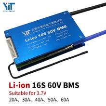 Защитная плата для аккумуляторов li ion 3,6 В/3,7 В, 16 с, 60 В, BMS, со сбалансированным контролем температуры