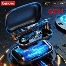 Lenovo qt81 tws esportes fones de ouvido estéreo sem fio à prova dwaterproof água fones com microfone bluetooth chamada hd 1200mah