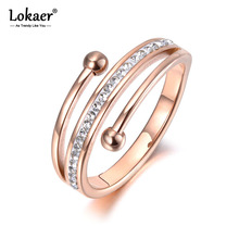 Lokaer Trendy Rose Gold 3 Layers Anniversary Rings Jewelry Stainless Steel Mosaic Rhinestone Clay Engagement Ring Anneau R19057