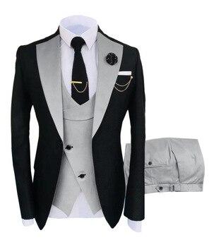New Costume Slim Fit Men Suits Slim Fit Business Suits Groom Black Tuxedos for Formal Wedding Suits Jacket Pant Vest 3 Pieces 1