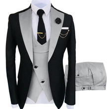 Men Suits Tuxedos Pant Vest Costume Jacket Groom Slim-Fit Black Formal 3-Pieces New Wedding