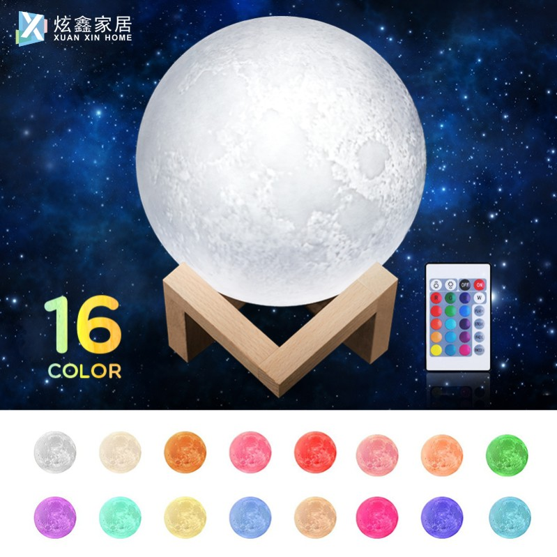 16 Color 3D Bluetooth Music Moon Lamp USB Charging Remote Control Color Change Night Light Creative Home Decoration LED Light