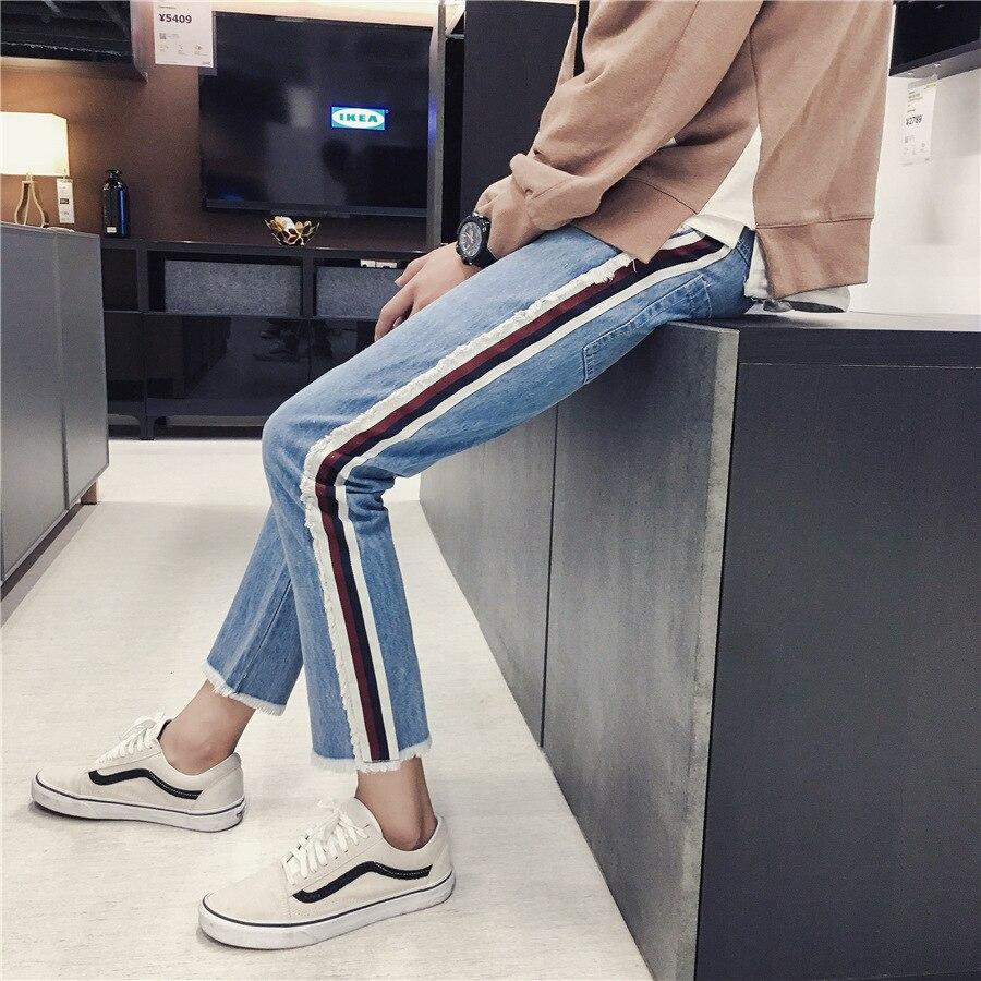 2017 Autumn New Style Hong Kong Style Men's Loose-Fit Burrs Denim (Ankle-length Pants) Korean-style Trend Pencil Pants MEN'S Jea