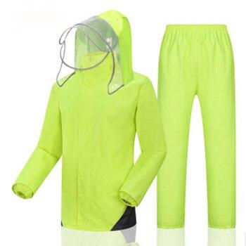 Chubasquero eléctrico elegante para adultos, conjunto impermeable dividido con poncho luminoso, tres capas de gorro de lluvia