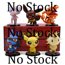 6 pcs/set Anime Cute Cartoon Doll 1st Ver. Mewtwo Pikachu Meowth Eevee Charizard PVC Action Figure Collection Model Toy все цены