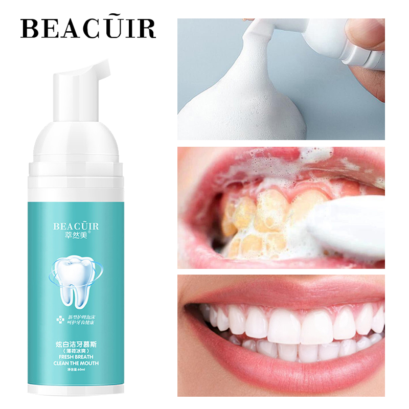 BEACUIR Tooth Whitening Cleaning Mousse Fresh Breath Remove Plaque Stains Oral Odor Protect Oral Hygiene Cleaning Dental Tool