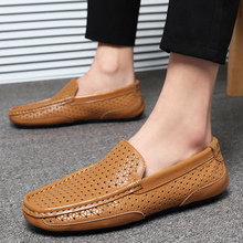 New Peas Shoes Brand Size 38-47 Leather Men Flats 2020 Men Casual Shoes Summer Hollow Out Men Loafers Moccasin Driving Shoes 2016 new brand real genuine leather casual men s shoes matching summer flat men tenis masculino size 38 46 top quality shoes men