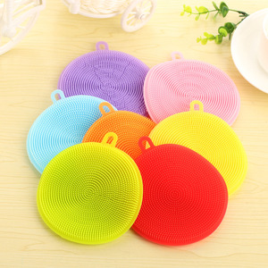 Image 2 - 1PC Silicone Dish Washing Sponge Washing Brush Scrubber Kitchen Cleaning Antibacterial Tools Supply Magic Cleaning Accessories E
