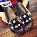 Bailehou Rivet perle femmes pantoufles plate forme dames chaussures femme sans lacet diapositives été plage nouvelles pantoufles tongs sandales