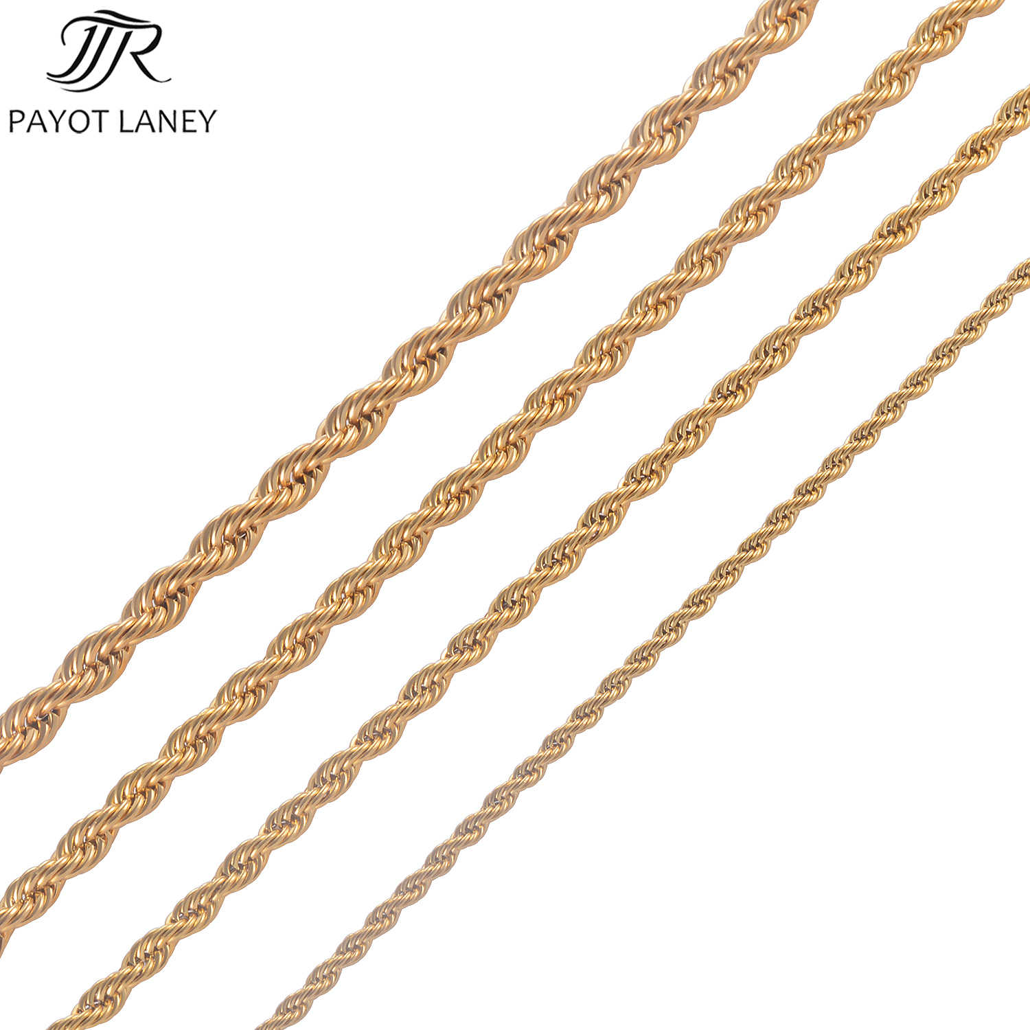 High Quality Gold Plating Rope Chain Stainless Steel Necklace For Women Men Gold Fashion Rope Chain Jewelry Gift