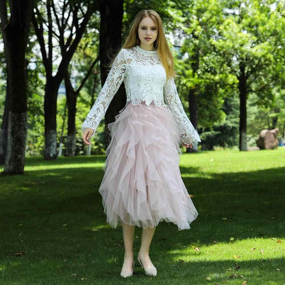 Кружевная юбка с тюлем для женщин 2019 корейская мода Высокая талия элегантная длинная Макси юбка Женская сетка Многоуровневая Асимметричная плиссированная юбка