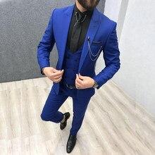 Roupas masculinas de lapela customizadas, trajes para casamento slim fit, maiô, 2020, três peças, azul royal, masculino calças + colete + gravata)