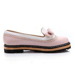 Image 4 - Женские туфли на плоской подошве ESVEVA, туфли из мягкой искусственной кожи с круглым носком, на шнуровке, в стиле пэчворк, размеры 34 43, для весны и осени, 2020