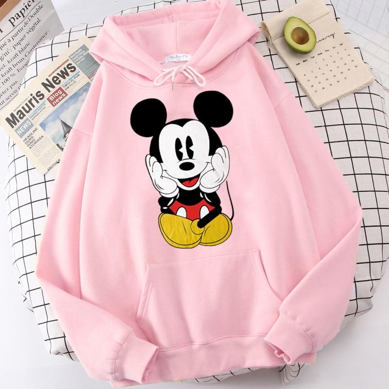 Disney Women Hoodies Minnie Mickey Mouse Hoodies Cartoon Tops Long Sleeve Pockets Sweatshirts Fashion Hooded Women 12