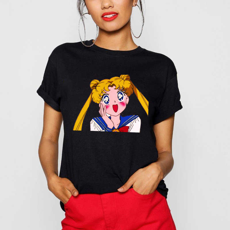 Camiseta Sailor Moon T Shirt Spaß Ulzzang Teenager Mädchen Baumwolle T-shirt Tops Frauen O Neck Tees Sommer Harajuku T Shirts weibliche