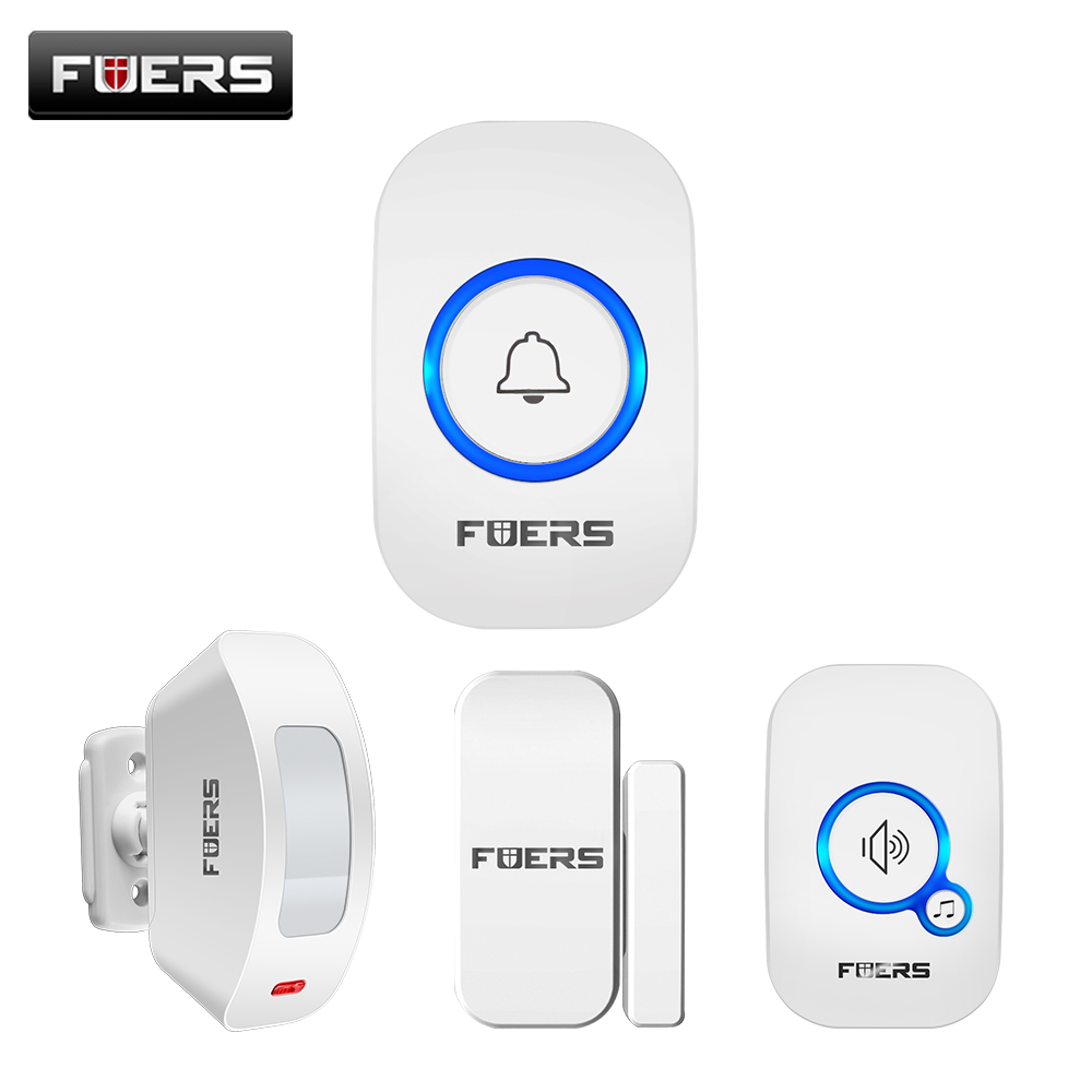 FUERS M557 Motion Sensor Alarm System Wireless Doorbell Home Security Buglar Alarm Motion Detector Door Sensor Security Doorbell