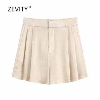 2020 women fashion solid casual slim soft satin Shorts ladies side pleats chic zipper fly drapped shorts pantalone cortos P820