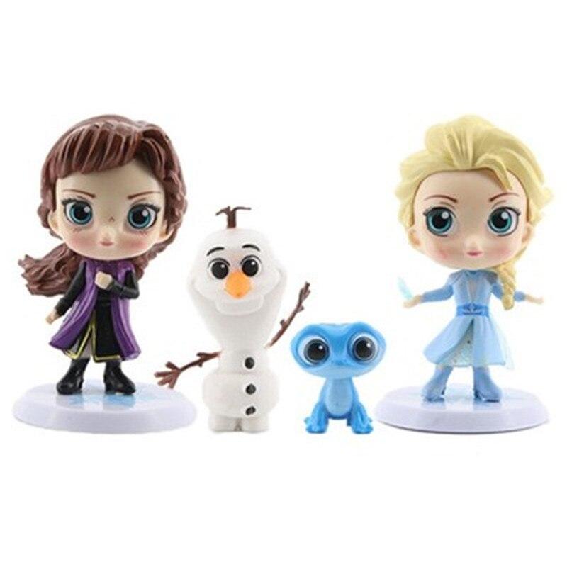 Figuras de ação de rainha da neve, figuras de ação de anime, 4 pçs/set frozen2 elsa & anna pvc, olaf, miniatura de brinquedo para crianças presentes