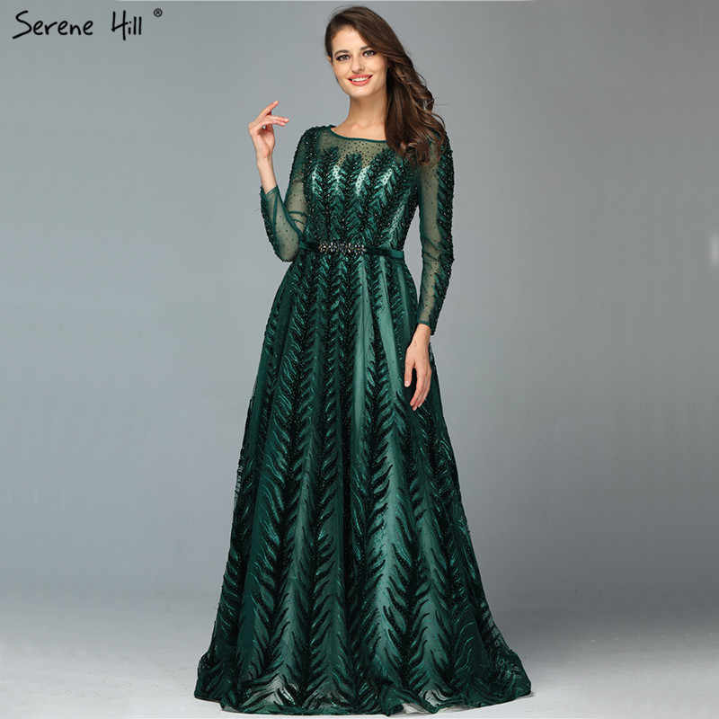 Dubai Design Green Long Sleeves Evening Dresses 2019 O-Neck Beading Sequined A-Line Evening Gowns Serene Hill LA70040