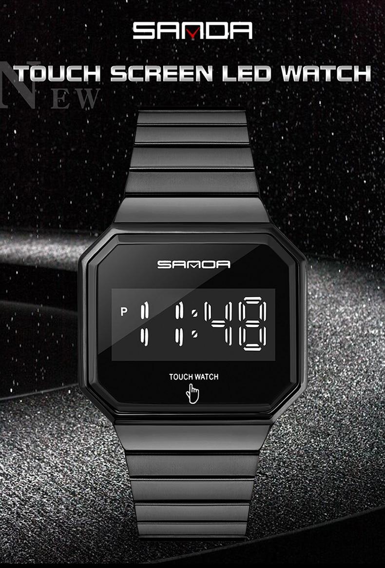 Новые модные спортивные часы мужские led сенсорный экран электронные