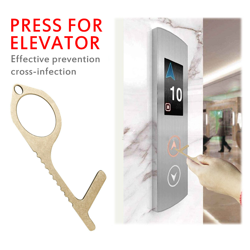 Touch Free Safety Door Opener Safety Protections NO Touch Brass Contactless Key Opener