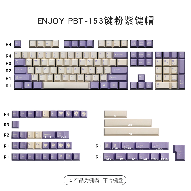 153 keys/set enjoypbt milk purple color keycap ABS double shot mechanical keyboard key caps for MX switch Cherry profile