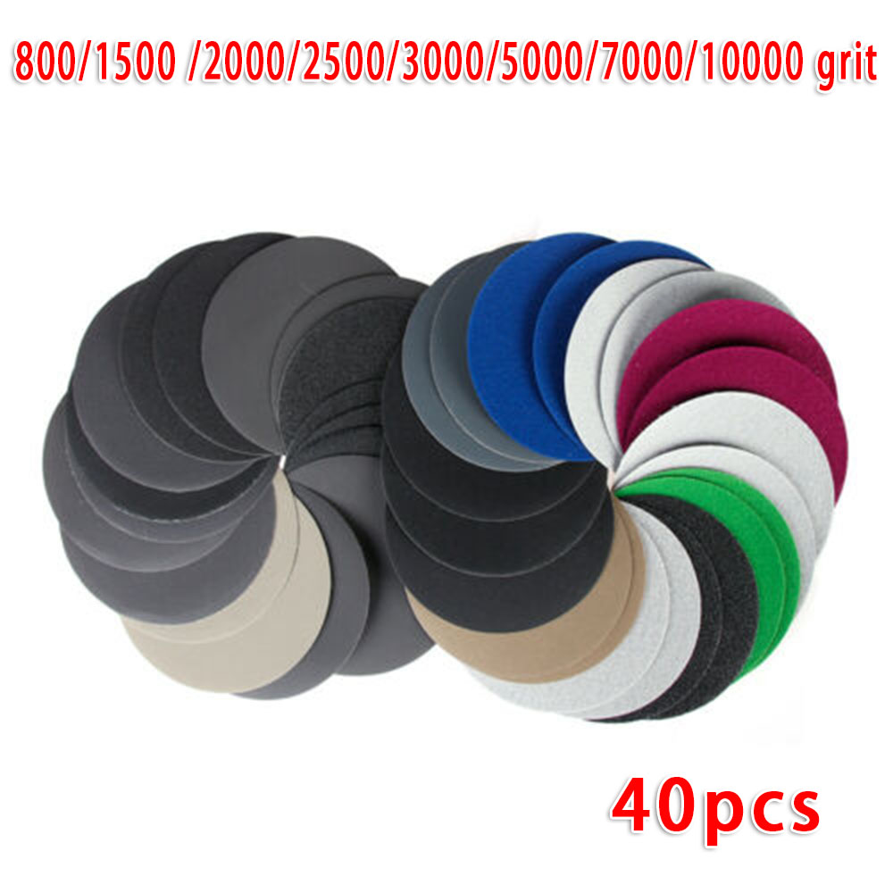 40pcs/Set 5inch 125MM Water Wet Sandpaper Sanding Disc Grinding Polishing High Abrasion Resistance For Grinding