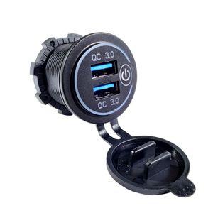 Image 4 - כפול QC3.0 USB מטען עם LED מגע על כיבוי עבור מכונית אופנוע נייד