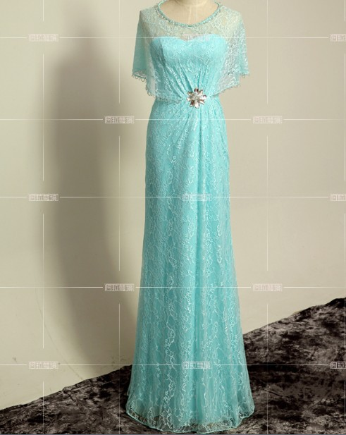 Robe De Soiree Cheap 2018 New Fashion Cap Sleeve Vestido De Festa Blue Lace Formal Party Gown Evening Mother Of The Bride Dress