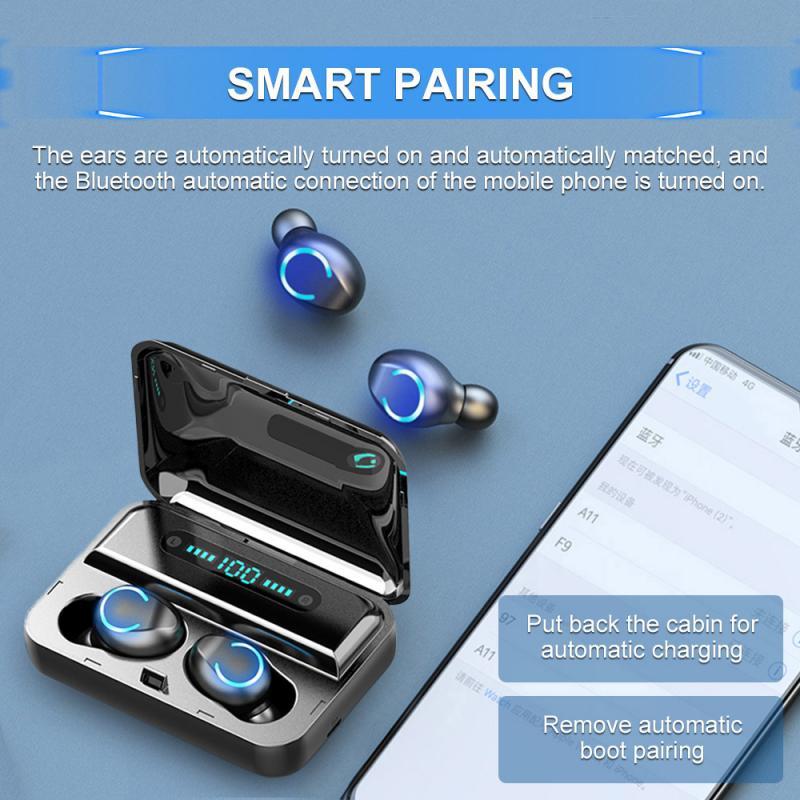F9 TWS Wireless Bluetooth 5.0 Headphone Binaural Breathing Lamp Sports Stereo Earbud Headset White LED Charging Box 2
