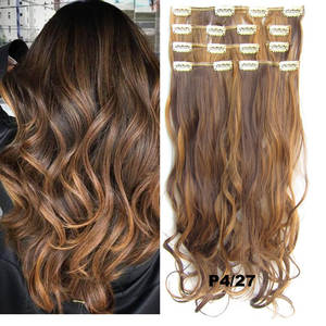Clip in Hair Extension Synthetic Natural Wavy Hairpiece 7pcs/set 100g Flase Hair