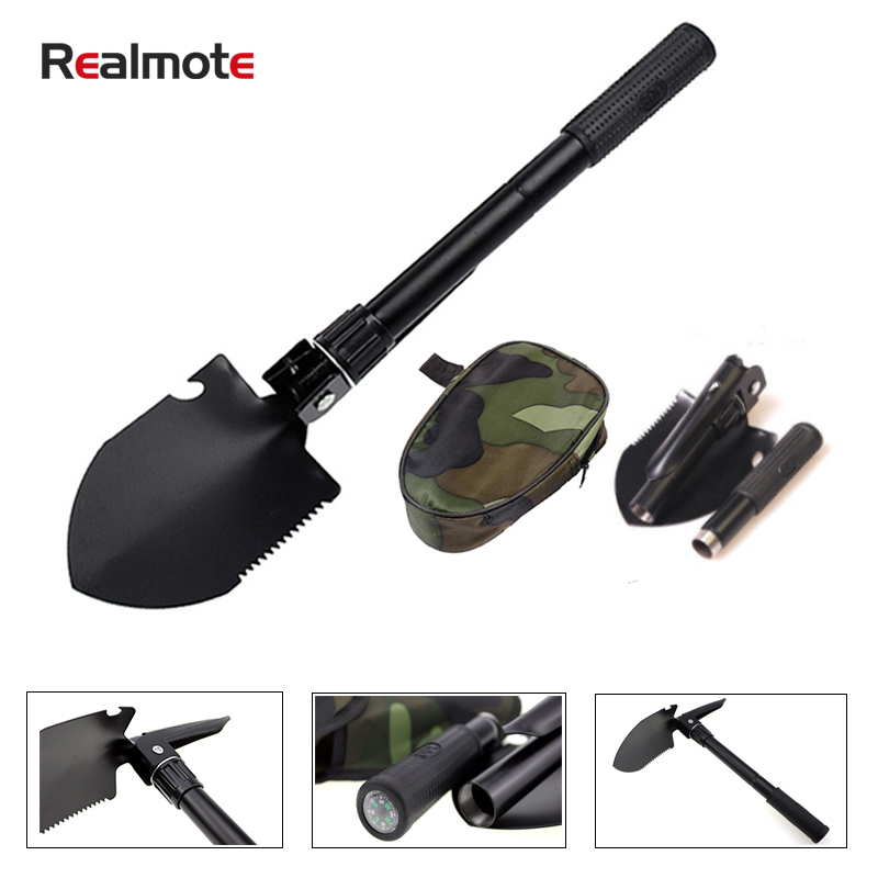 Color Random Garden Tools Portable Folding Shovel Multifunction Stainless Steel Survival Spade Trowel Camping Outdoor Cleaning